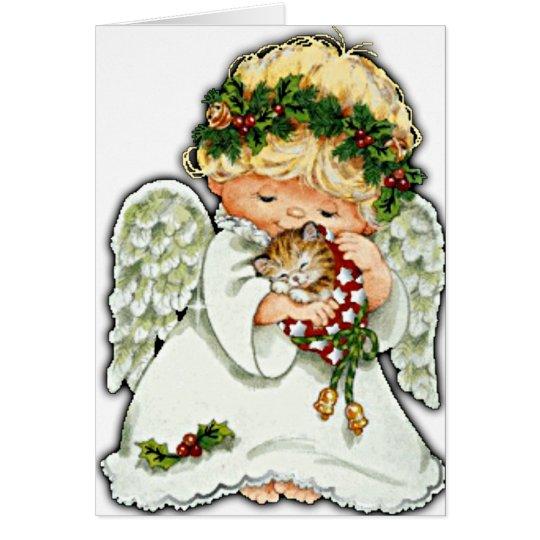 Ángel y gatito del navidad tarjeta de felicitación