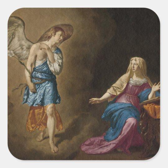 Ángel y Maria del anuncio Pegatina Cuadrada