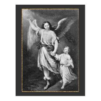 Ángel y niño de guarda postal
