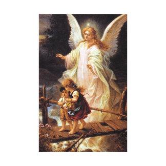 Ángel y niños de guarda impresión en lienzo