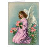 Ángel y rosas del vintage felicitación