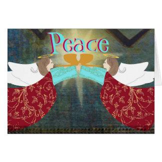 Ángeles de la tarjeta de Navidad de la paz