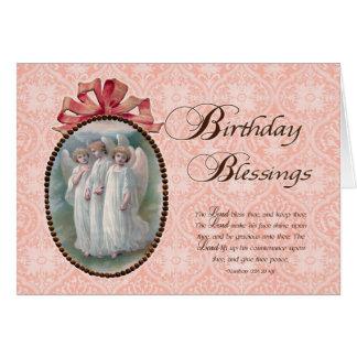 Ángeles de las bendiciones del cumpleaños de la tarjeta