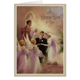 Ángeles del sacerdote del novio de la novia de la tarjeta pequeña