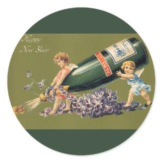 Ángeles del vintage con Champán; Una Feliz Año Nue Etiquetas Redondas