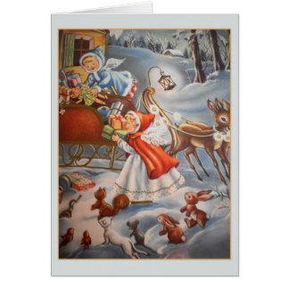Ángeles del vintage y tarjeta de Navidad del