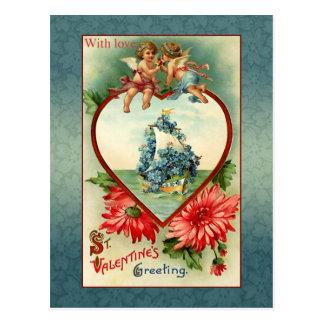 Ángeles y nomeolvides de la tarjeta del día de San