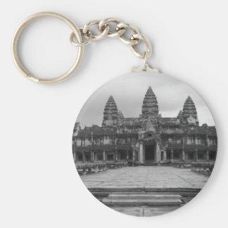 Angkor Wat B&W Llavero Redondo Tipo Chapa