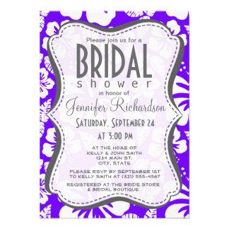 Añil, hibisco tropical hawaiano púrpura invitaciones personalizada