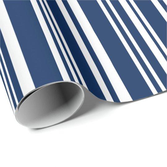 Añil mezclado moderno y rayas blancas papel de regalo