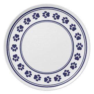 Añil y placa blanca de la melamina de la impresión plato de cena