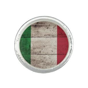 Anillo Bandera de Italia en grano de madera viejo