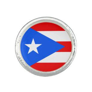 Anillo Bandera portorriqueña redonda