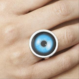 Anillo Con Foto Globo del ojo realista azul único Halloween