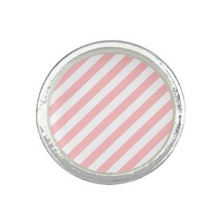 Anillo Con Foto Modelo diagonal del rosa y blanco de las rayas