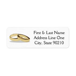 Anillo de bodas etiqueta de remitente