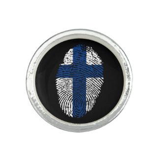 Anillos Con Foto Bandera finlandesa de la huella dactilar del tacto