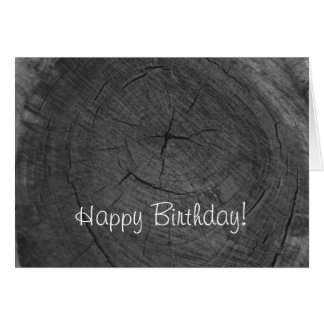Anillos de árbol blancos y negros del feliz cumple tarjeta de felicitación