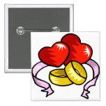 Anillos de bodas bajo corazón pins