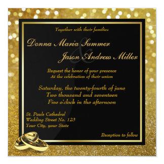 Anillos de bodas elegantes del oro - invitación
