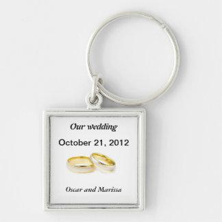 anillos de bodas llavero cuadrado plateado