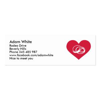 Anillos de bodas rojos del corazón tarjetas de visita