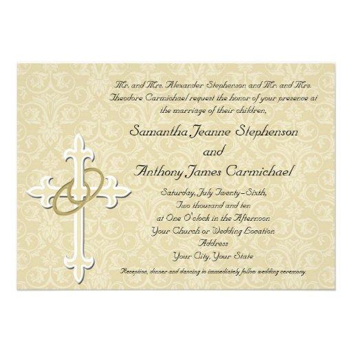 Anillos de oro con la cruz, amor cristiano elegant invitación personalizada