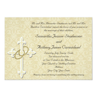 Anillos de oro con la cruz, amor cristiano invitación 12,7 x 17,8 cm