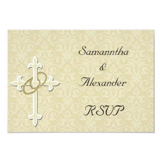 Anillos de oro con la cruz, amor cristiano invitación 8,9 x 12,7 cm