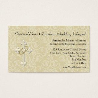 Anillos de oro con la cruz, amor cristiano tarjeta de negocios