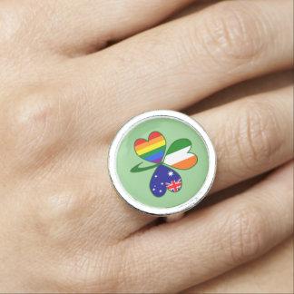 Anillos Trébol irlandés australiano del orgullo gay