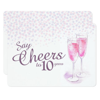 Anima aniversario de los vidrios del champán de la invitación 12,7 x 17,8 cm