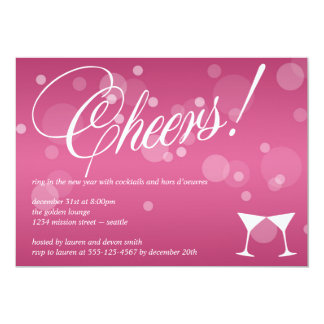 Anima el rosa de martini deslumbran la celebración invitación 12,7 x 17,8 cm