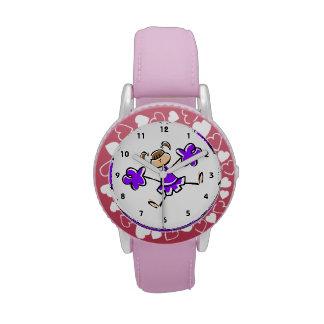 Animadora púrpura violeta reloj de mano