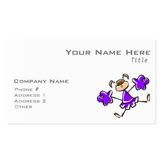 Animadora púrpura violeta tarjeta personal