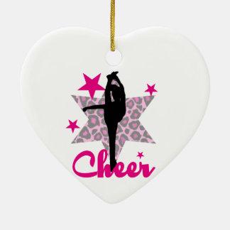 Animadora rosada adorno navideño de cerámica en forma de corazón