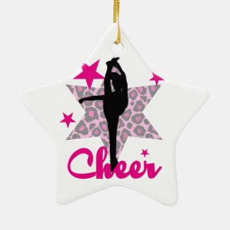 Animadora rosada adorno navideño de cerámica en forma de estrella