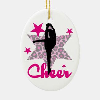 Animadora rosada adorno navideño ovalado de cerámica
