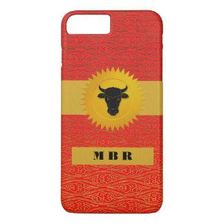 Animal chino del zodiaco del buey con el monograma funda iPhone 7 plus