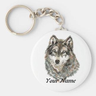 Animal de encargo de la acuarela del lobo del nomb llaveros personalizados