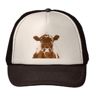 Animal del campo curioso de la vaca de Brown Gorras De Camionero
