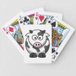 Animal del campo redondo de la vaca del dibujo ani cartas de juego