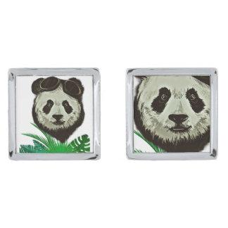 Animal del oso de panda del inconformista gemelos plateados