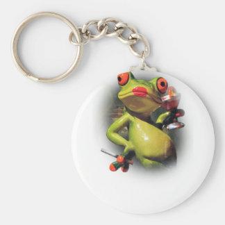 Animal divertido del humo de la rana del encanto llavero redondo tipo chapa