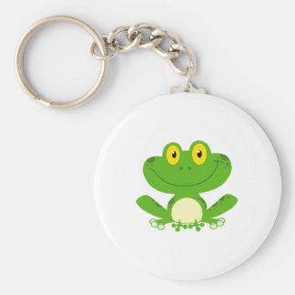 Animal lindo verde anfibio del dibujo animado de llavero redondo tipo chapa