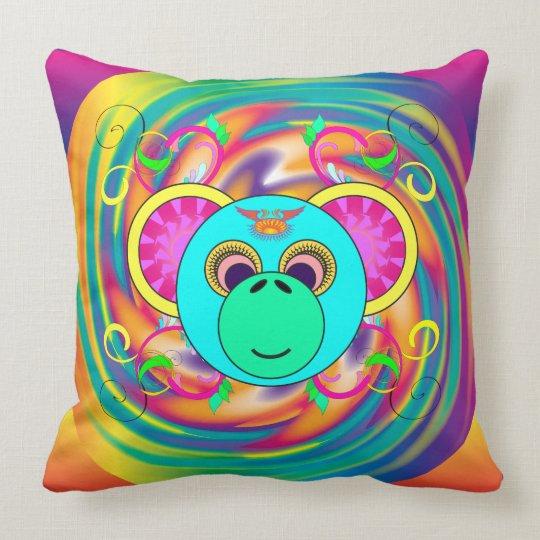 Animal psicodélico colorido del arco iris del mono cojín decorativo