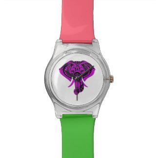 Animal púrpura del elefante reloj de pulsera