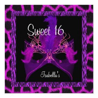 Animal púrpura salvaje del cumpleaños adolescente invitación 13,3 cm x 13,3cm