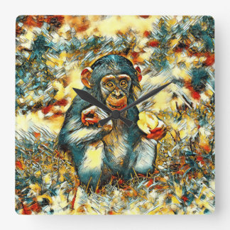 AnimalArt_Chimpanzee_20170603_by_JAMColors Reloj Cuadrado