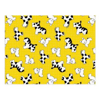 Animales amarillos del bebé del lunar postales